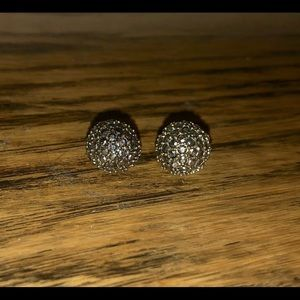 Grey sparkle ball stud earrings